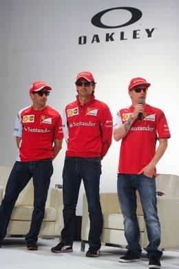 Kimi Raikonnen, Marc Gené y Pedro Martínez de la Rosa