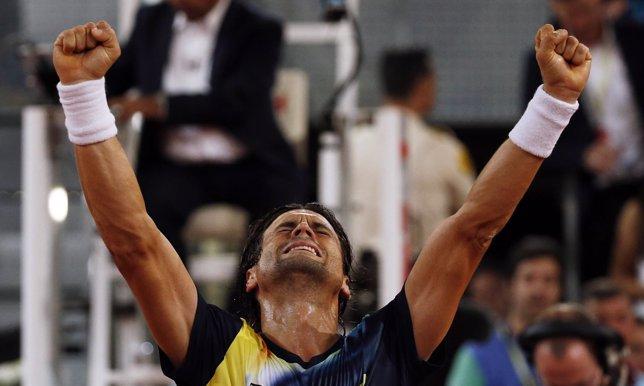 David Ferrer celebra el pase a semifinales del Mutua Madrid Open