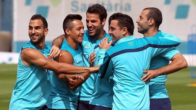 Montoya Alexis Cesc Mascherano Xavi Barcelona entrenamiento