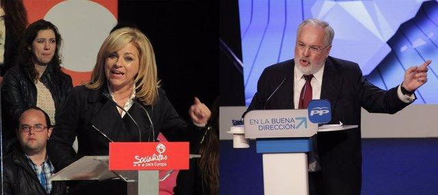 Elena Valenciano (PSOE) y Miguel Arias Cañete (PP)