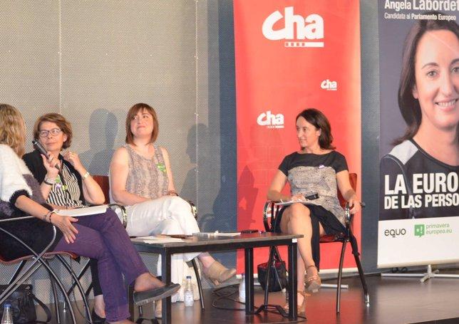 La candidata de CHA por Primavera Europea, Ángela Labordeta.