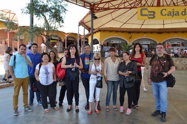 Blogueros y periodistas en el salón del jamón de Jerez de los Caballeros