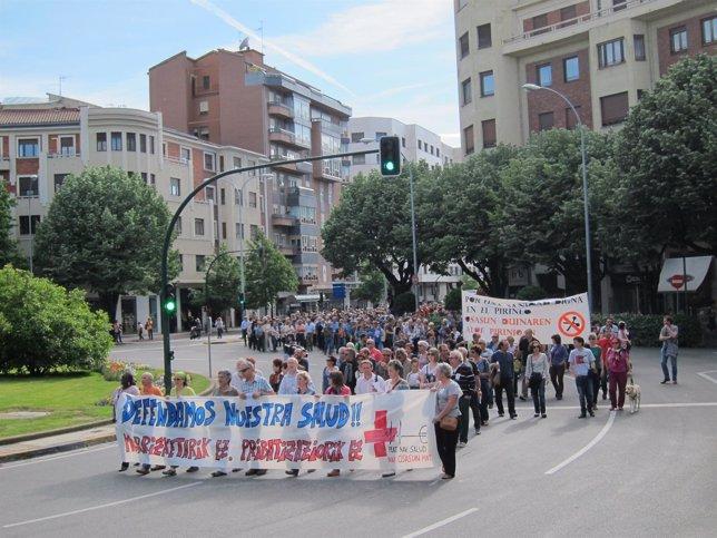 Manifestación en Pamplona en defensa de la sanidad pública