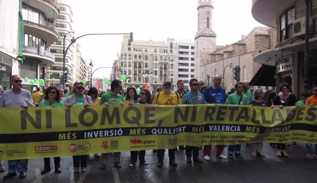 La cabecera de la marcha en la Plaza de San Agustín