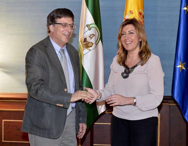 Susana Díaz con el embajador de Israel, Alon Bar
