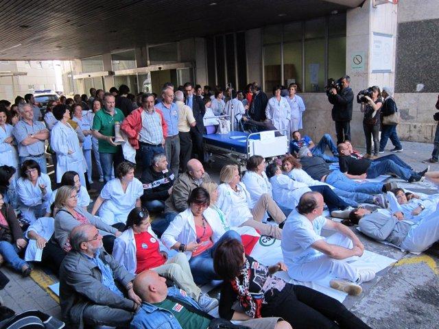 Protesta en el Hospital Xeral de Vigo