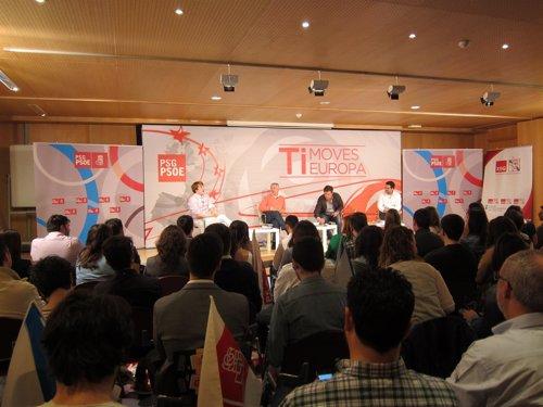 Acto del PSdeG en Santiago con Aitor Bouza, Blanco, Besteiro y Nino Torre