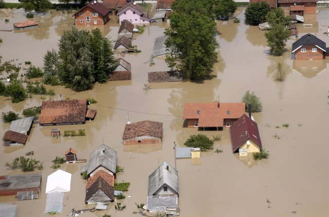 An aerial view of the flooded city of Orasje