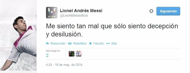 Tuit de Messi tras perder la Liga el Barça