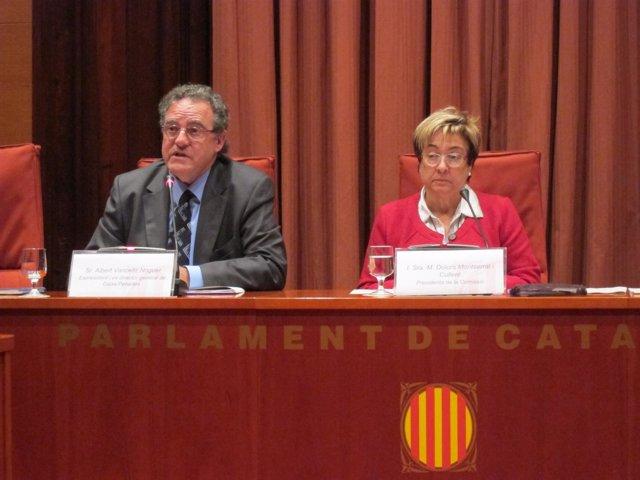 El expte y exdtor gral de Caixa Penedès A.Vancells y la diputada D.Montserrat