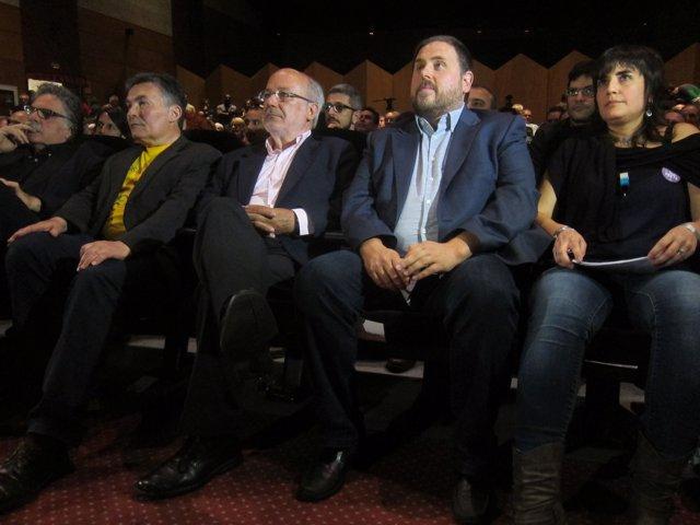 El candidato de ERC J.M.Terricabras y el presidente del partido O.Junqueras