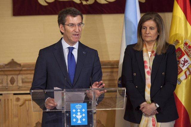 PAZO DE RAXOIAlberto Núñez Feijóo, acompañado pola conselleira de Traballo e Ben