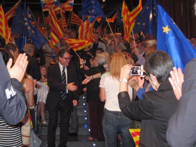 Mitin de CiU con el presidente Artur Mas