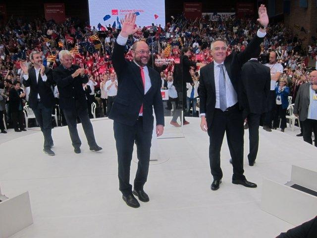 Mitin del PSC con J.Collboni, Felipe González, M.Schulz, P.Navarro