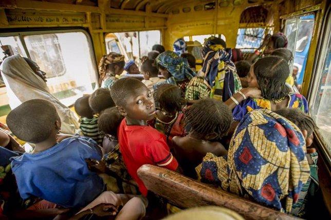 Trayecto desde Gbiti al campamento de refugiados