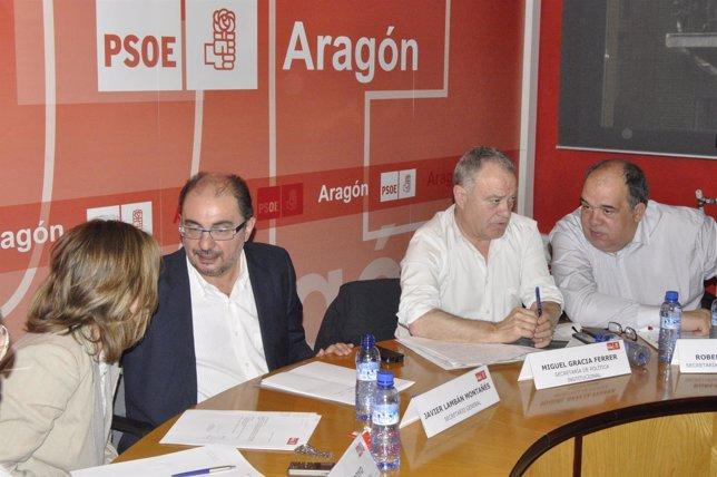 Javier Lambán en la reunión de la Ejecutiva Regional del PSOE-Aragón.