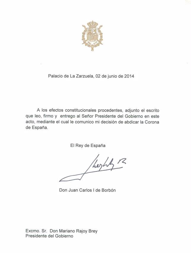 Texto de la adbicación del Rey Juan Carlos I
