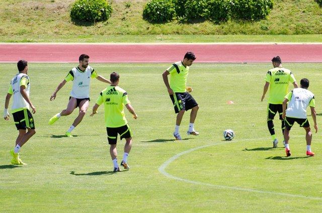 Diego Costa entrena con la selección española