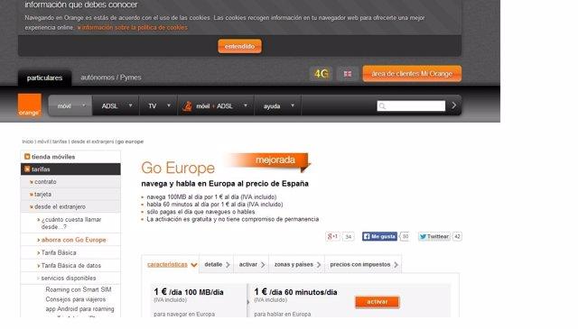 Página web Orange