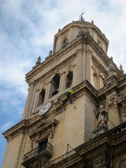 Un operario de Vertikaless quita vegetación de una de las torres de la Catedral.