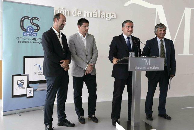 Francisco Oblaré, Elías Bendodo e Ignacio Mena en Diputación