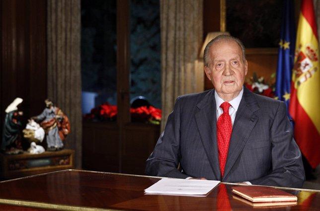 El rey durante su discurso navideño 2013