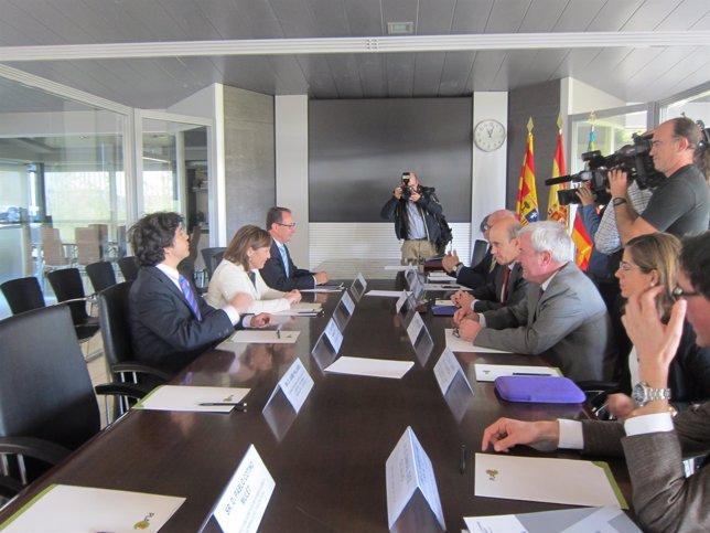 Reunión de los consejeros de Obras Públicas de Aragón y Valencia.