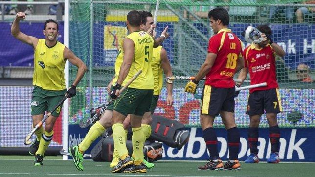 Australia celebra un gol ante España en el Mundia de La Haya
