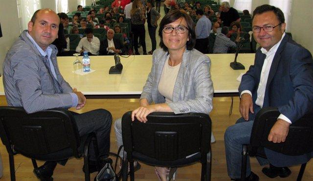 PSOE Francisco Conejo María Gámez Miguel Ángel Heredia Reunión Provincial