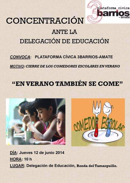 Vecinos de Tres Barrios-Amate se movilizan para que abran los comedores escolares en verano