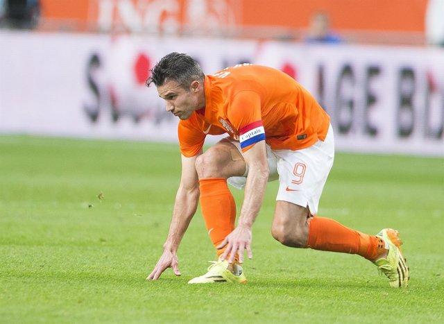 Robin van Persie con la selección de Holanda