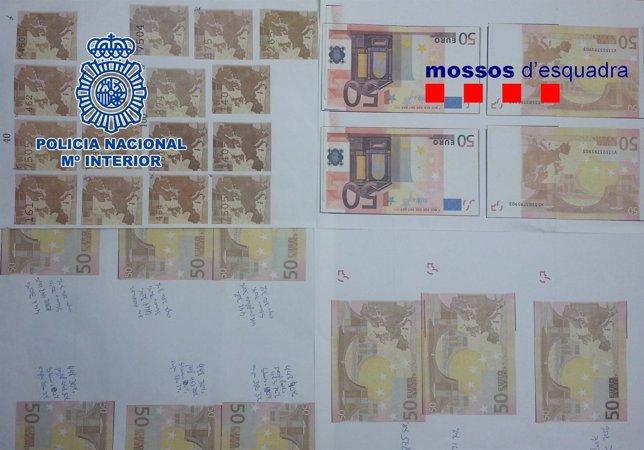 Billetes falsificados incautados en la operación