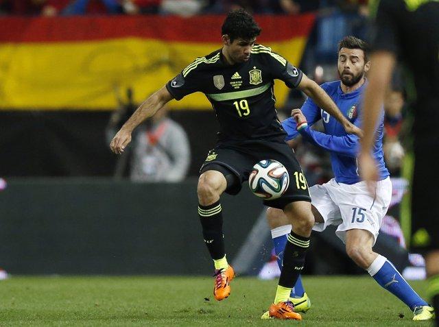 Diego Costa en su debut con la selección española