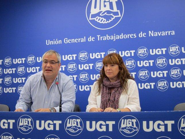 Lorenzo Ríos y Ayala Puente, de MCA-UGT, en la rueda de prensa