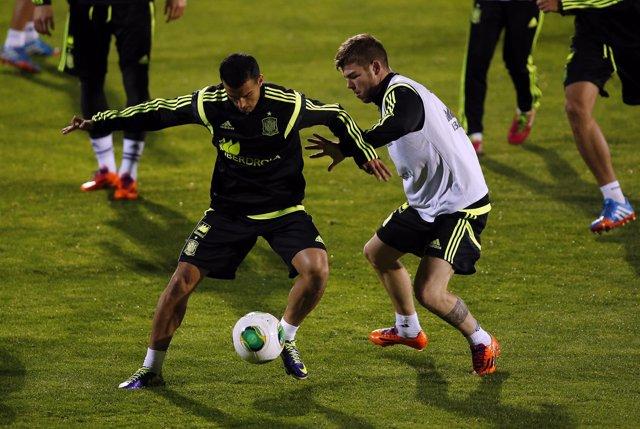 Pedro y Alberto Moreno en la selección española