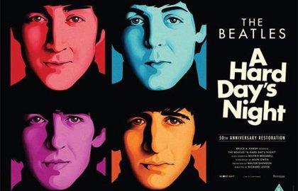 Cartel y tráiler de A Hard Day's Night, de los Beatles