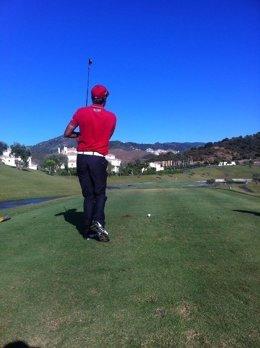 Un Golfista En Un Campo De Golf