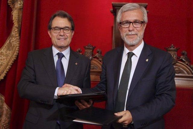 El presidente catalán, Artur Mas, y el alcalde de Tarragona, J.F.Ballesteros.