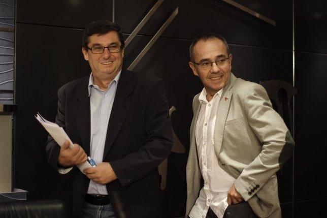 José Luis Centella y Joan Coscubiela, portavoces de Izquierda Plural