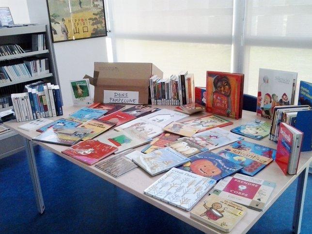 Imagen de los libros franceses en la biblioteca de Yamaguchi