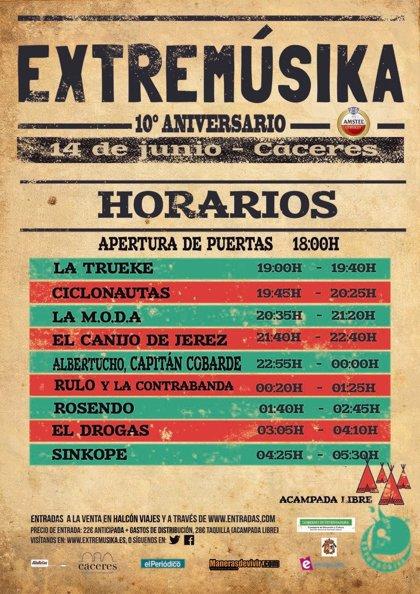 El festival Extremúsika de Cáceres arrancará con La Trueke y cerrará con Sínkope, tras más de diez horas de música