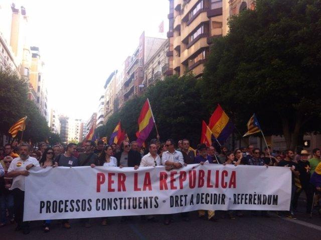 Manifestación a favor del referéndum en Valencia