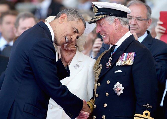 Obama el presidente que hace reír al príncipe Carlos reyes de Holanda