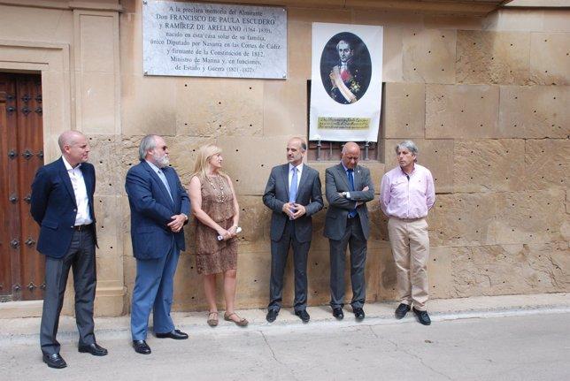 Descubierta una placa en Corella en homenaje al único diputado navarro de 1812.