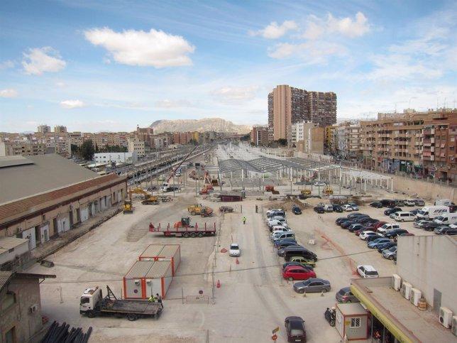Obras de la nueva estación del AVE en Alicante