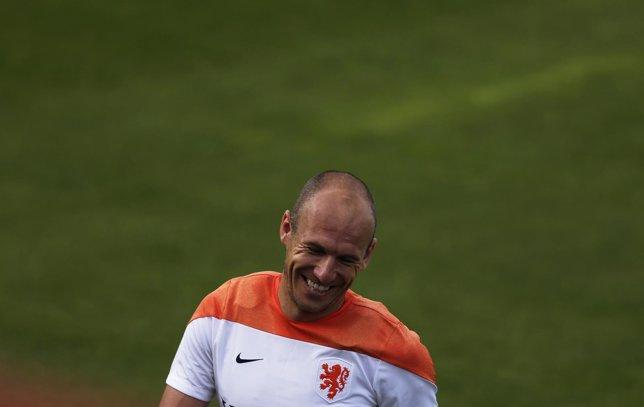 Robben en un entrenamiento