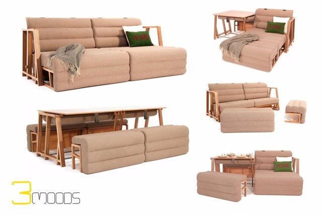 Un Diseñador Valenciano Crea Un Mueble Transformable En Sofá, Cama Y Mesa  Como Solución Para Espacios Pequeños