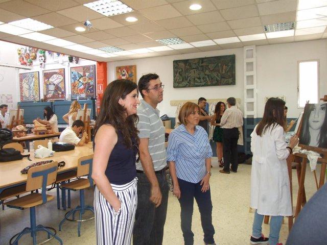Visita de Gálvez y Caballero al IES 'El Valle' de Jaén