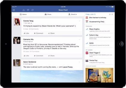 La app de Facebook para iPad añade trending topics y vídeos