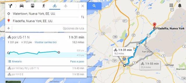 Ruta para ciclistas en Google Maps
